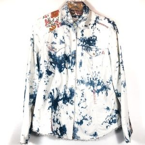 Ryan Michael Acid Wash Embroidered Pearl Snap Top